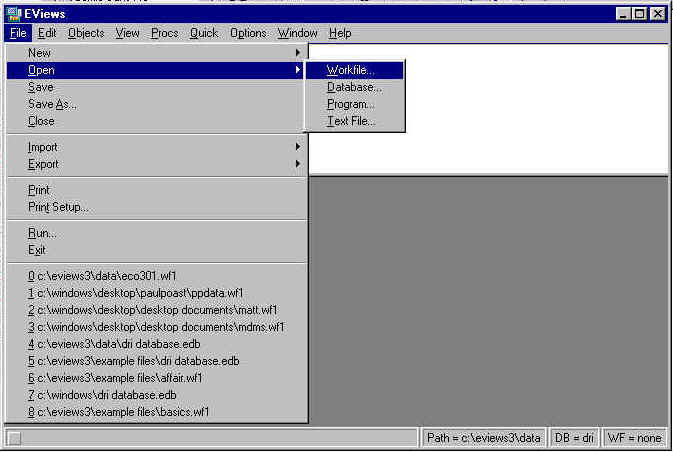Eviews 3 1 Users Guide - Opening an EViews Workfile