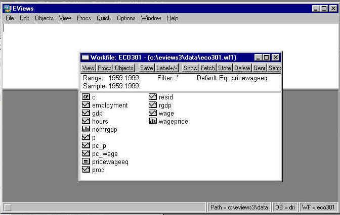 Eviews 3 1 Users Guide - Saving an EViews Workfile